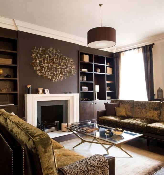 красивый декор гостиной в шоколадном цвете