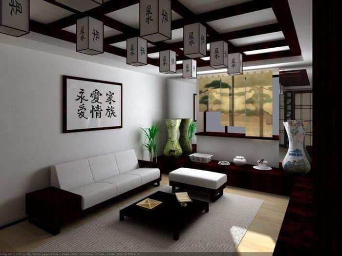 яркий дизайн квартиры в японском стиле
