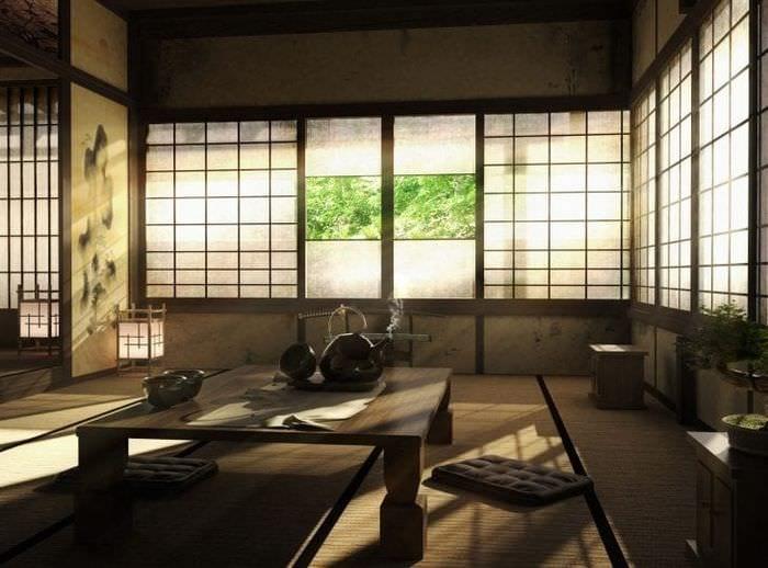красивый декор спальни в японском стиле