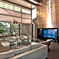 яркий декор гостиной в стиле хай тек картинка