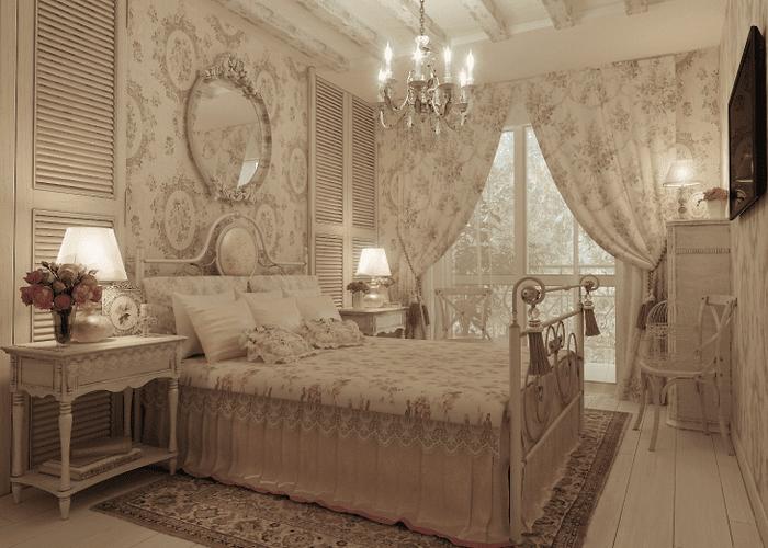 яркий интерьер комнаты в стиле шебби шик