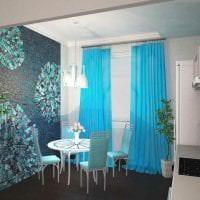 яркий дизайн кухни в бирюзовом цвете фото