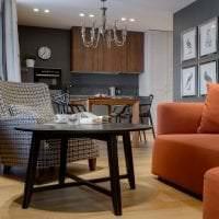 яркий терракотовый цвет в дизайне кухни фото