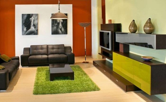 светлый терракотовый цвет в интерьере гостиной