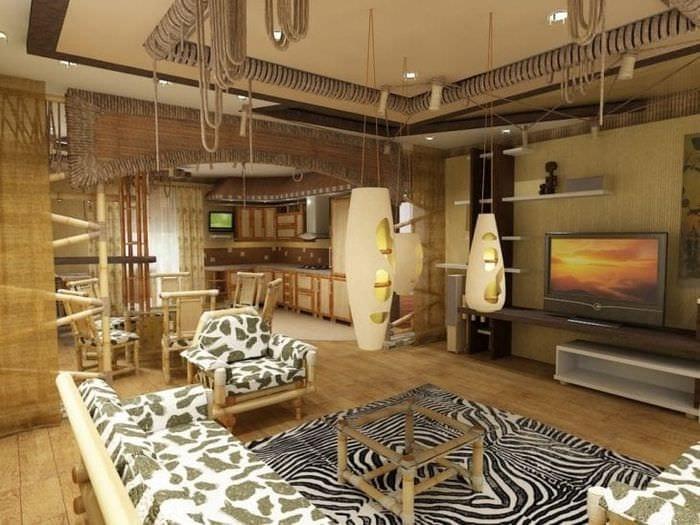 паркет с бамбуком в дизайне кухни