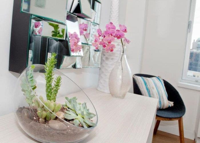 живые цветы в интерьере квартиры