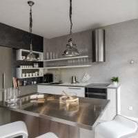 белые стены в декоре кухни в стиле скандинавия картинка
