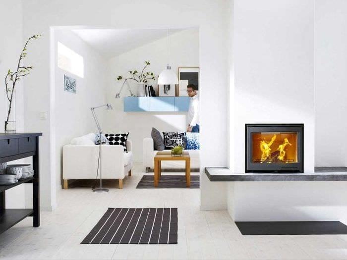 белые стены в дизайне кухни в стиле минимализм