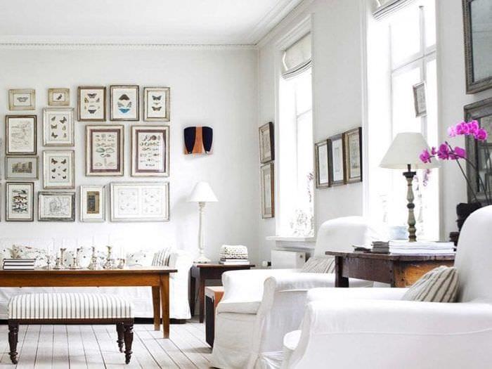 белые стены в стиле прихожей в стиле скандинавия