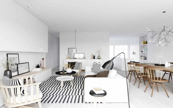 белые стены в стиле кухни в стиле скандинавия