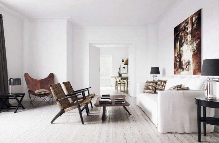 белые стены в стиле гостиной в стиле минимализм