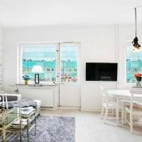 белые стены в стиле кухни в стиле скандинавия картинка