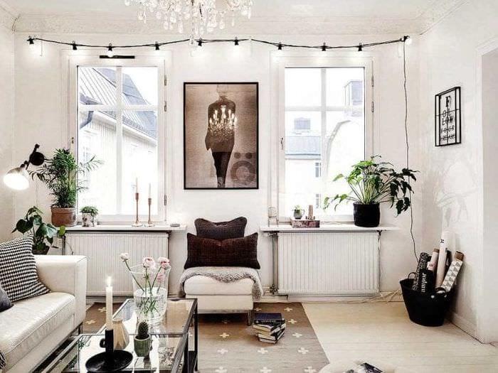 белые стены в интерьере кухни в стиле минимализм