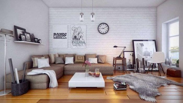 белые стены в дизайне дома в стиле скандинавия