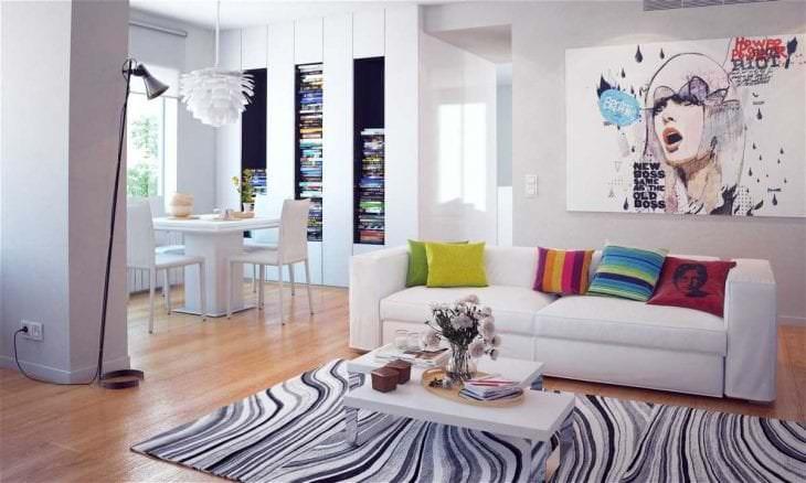 белые стены в дизайне гостиной в стиле минимализм