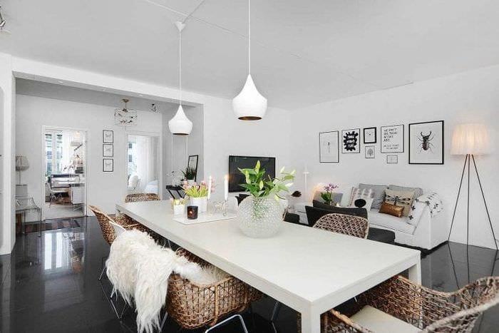 белые стены в интерьере квартиры в стиле минимализм