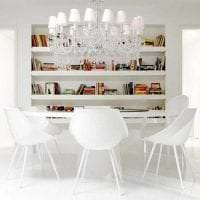 белые стены в дизайне кухни в стиле минимализм фото