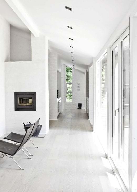 белые стены в стиле спальни в стиле скандинавия