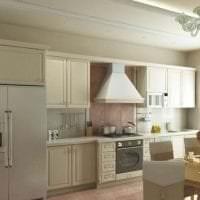 небольшой холодильник в фасаде кухни в стальном цвете фото