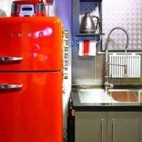 небольшой холодильник в интерьере кухни в разноцветном цвете картинка