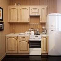 небольшой холодильник в декоре кухни в черном цвете фото