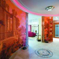 фрески в декоре гостиной с рисунком природы картинка