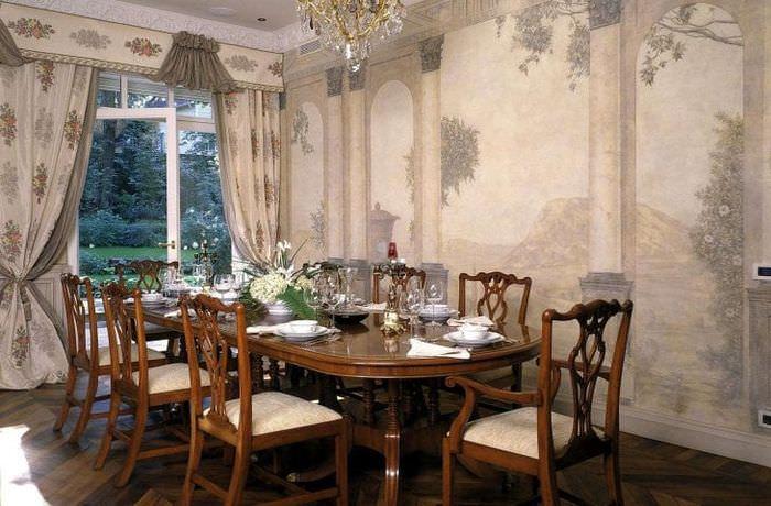 фрески в дизайне комнаты с изображением пейзажа