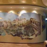 фрески в интерьере спальни с изображением пейзажа картинка