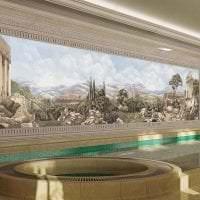 фрески в декоре кухни с изображением природы картинка