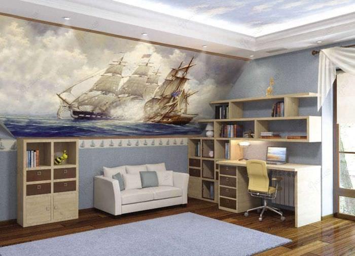 фрески в интерьере гостиной с изображением пейзажа