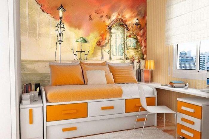 фрески в дизайне комнаты с рисунком пейзажа