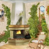 фрески в декоре кухни с изображением пейзажа картинка