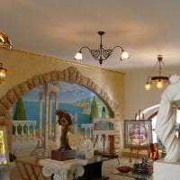 фрески в интерьере комнаты с рисунком пейзажа картинка