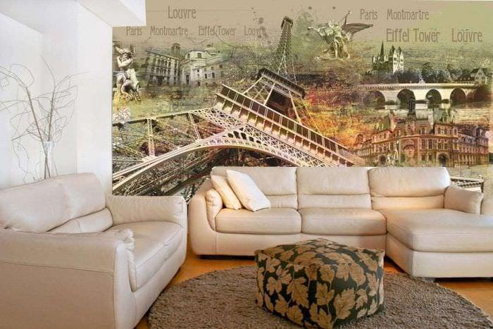 фрески в декоре прихожей с изображением природы