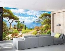 фрески в интерьере кухни с рисунком пейзажа фото