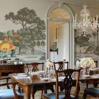 фрески в дизайне спальни с рисунком пейзажа картинка
