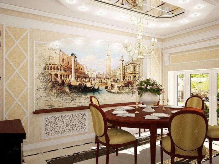 фрески в интерьере комнаты с рисунком пейзажа