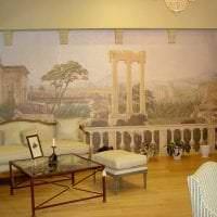 фрески в интерьере гостиной с изображением пейзажа фото