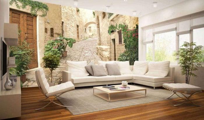 фрески в дизайне квартиры с рисунком природы