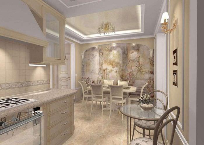 фрески в декоре кухни с изображением пейзажа
