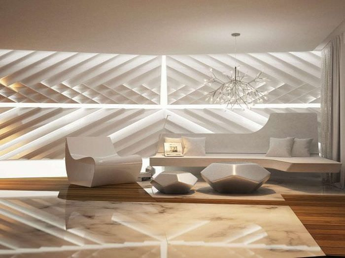 футуризм в дизайне спальни в ярком цвете