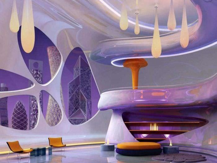 футуризм в интерьере квартиры в светлом цвете