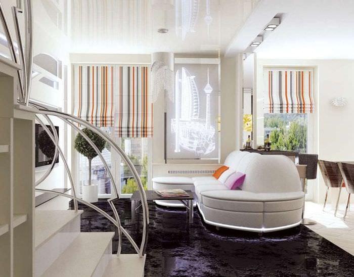 футуризм в дизайне комнаты в необычном цвете