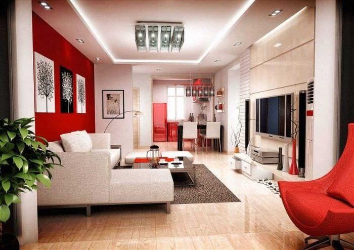 сочетание красного с другими цветами в дизайне дома