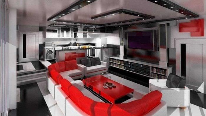 комбинирование красного с другими цветами в интерьере квартиры