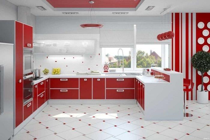 сочетание красного с другими цветами в декоре коридора