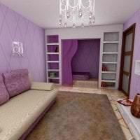 комбинирование сиреневого цвета в дизайне квартиры фото