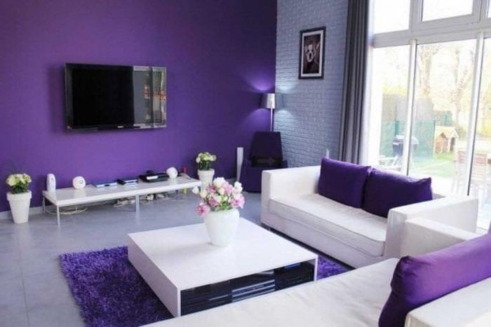 комбинирование сиреневого цвета в интерьере квартиры