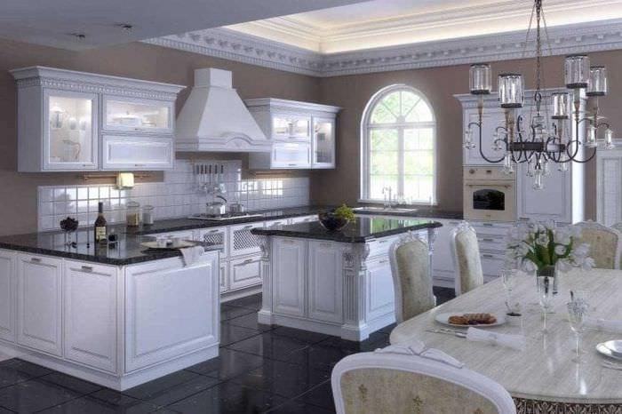 темный стиль элитной кухни в стиле модерн