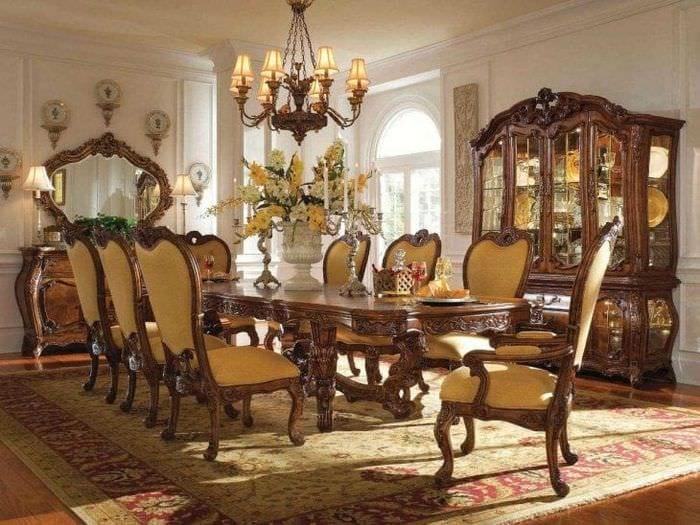 красивый стиль гостиной в стиле рокко